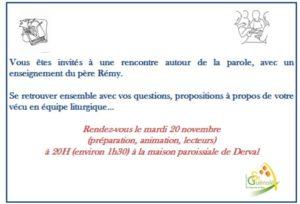 Rencontre des acteurs de la liturgie St Guénolé @ Maison Paroissiale DERVAL