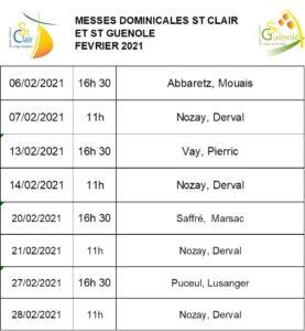 Messes dominicales février 2021 @ St Clair et St Guénolé