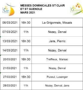 Messes dominicales mars 2021 @ St Clair et St Guénolé