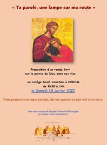 """Temps fort """"La Parole de Dieu dans nos vies"""" @ collège St Donatien DERVAL"""