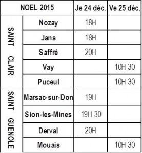 MESSES DE NOEL 2015